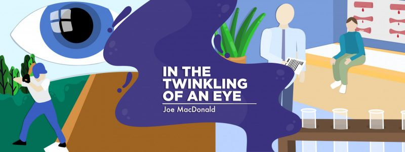 """Main graphic for column titled """"In the Twinkling of an Eye,"""" Hemophilia News Today, by Joe MacDonald. Graphic artist's rendition of a purple wave offset by a doctor's office."""