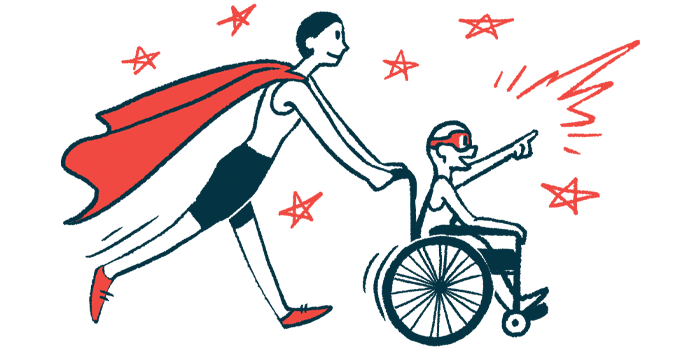 rare disease clinical trial participants | Hemophilia News Today | Illustration of woman in cape pushing child in wheelchair